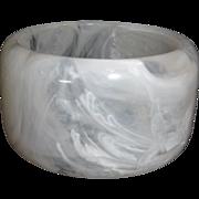Vintage Wide Marbled White Resin Bangle Bracelet