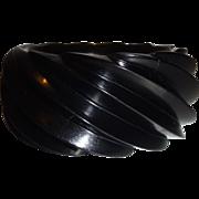 Vintage HUGE Black Spiral Molded Plastic Bangle Bracelet Made in Western Germany