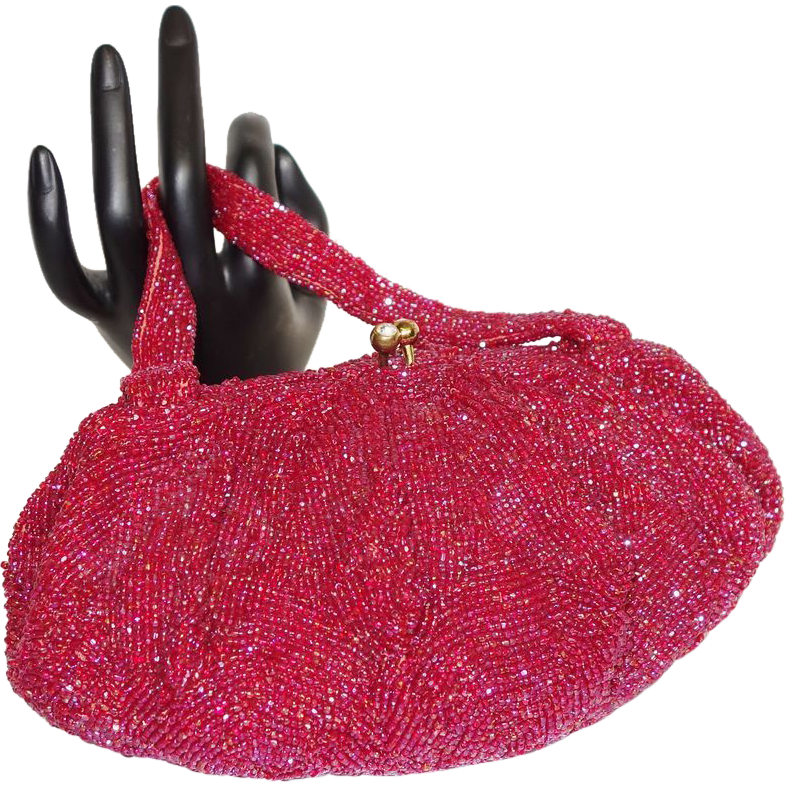 Stunning Iridescent Red Glass Beaded Purse by Walborg Made in Belgium