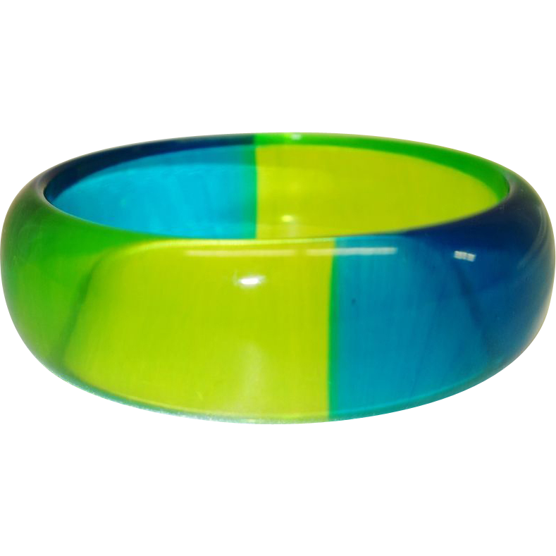 Vintage Blue and Green  Quadrant Lucite Bracelet