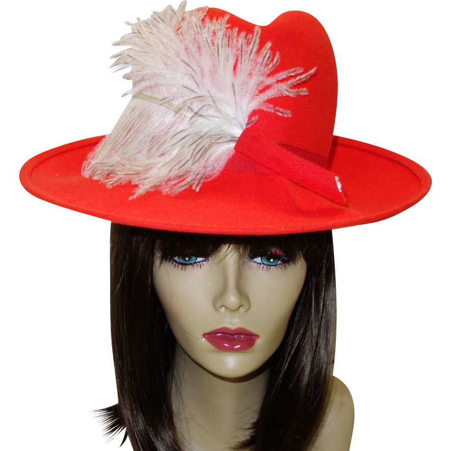 Dramatic Vintage Red Wool Hat with Ostrich Feather Accent