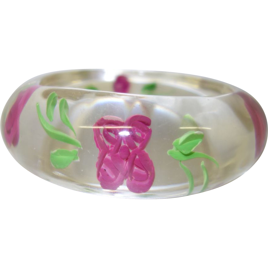 Vintage Clear Lucite Bracelet with Pink Reverse Carved Flowers
