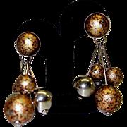 Vintage Bold Dangle Clip On Earrings
