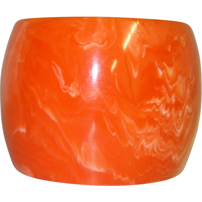 Extra WIDE Marbled Orange Lucite Bangle Bracelet