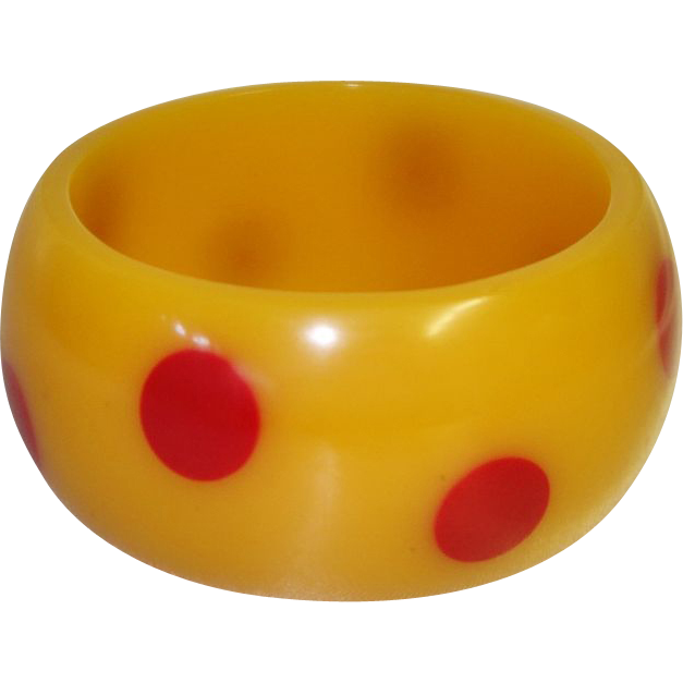 Vintage Injected Dot Lucite Bangle Bracelet