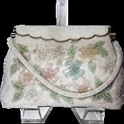 Vintage Pastel Floral Beaded Purse