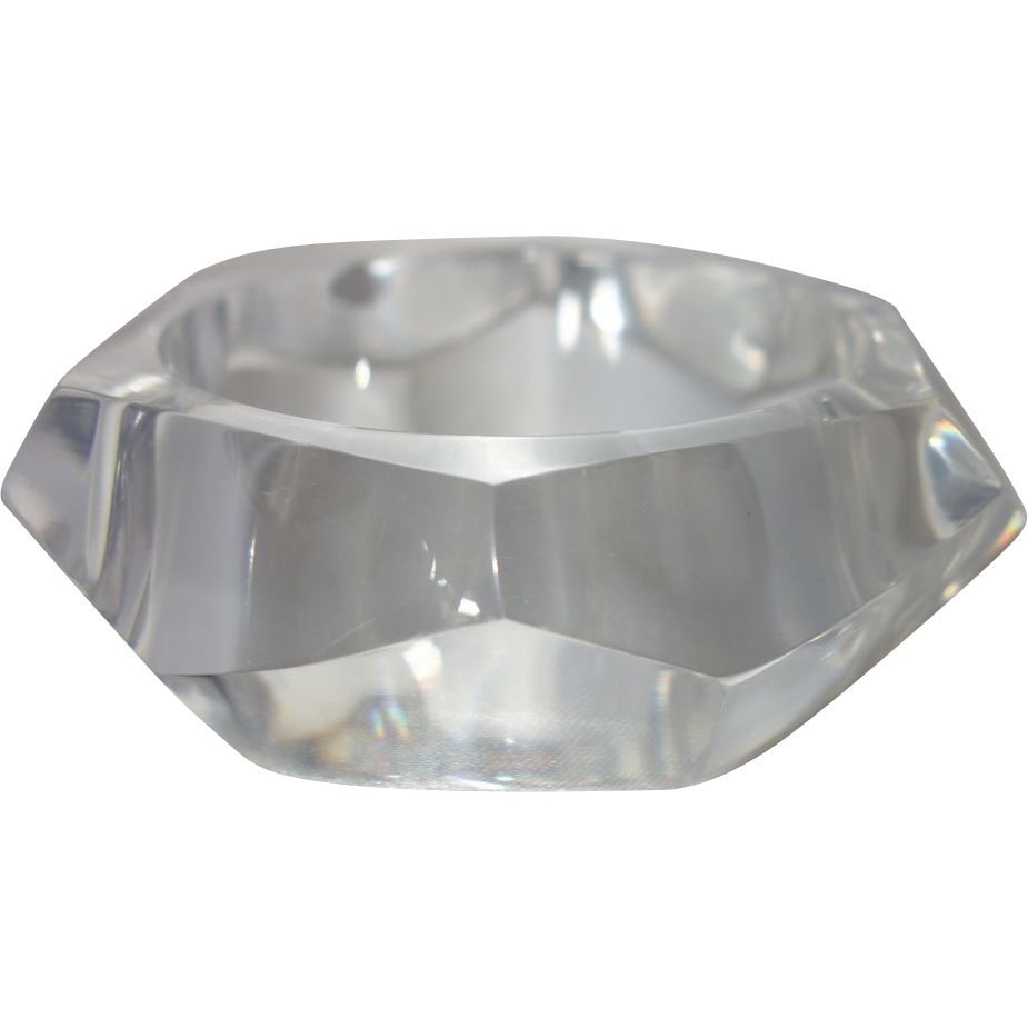 Vintage Clear Faceted Lucite Bangle Bracelet