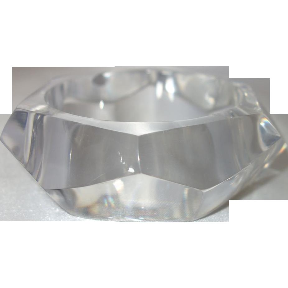 Vintage Clear Faceted Lucite Bangle Bracelet