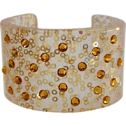 Exquisite French Cristal Acrylic Cuff by Designer Jean-Marie Poinot