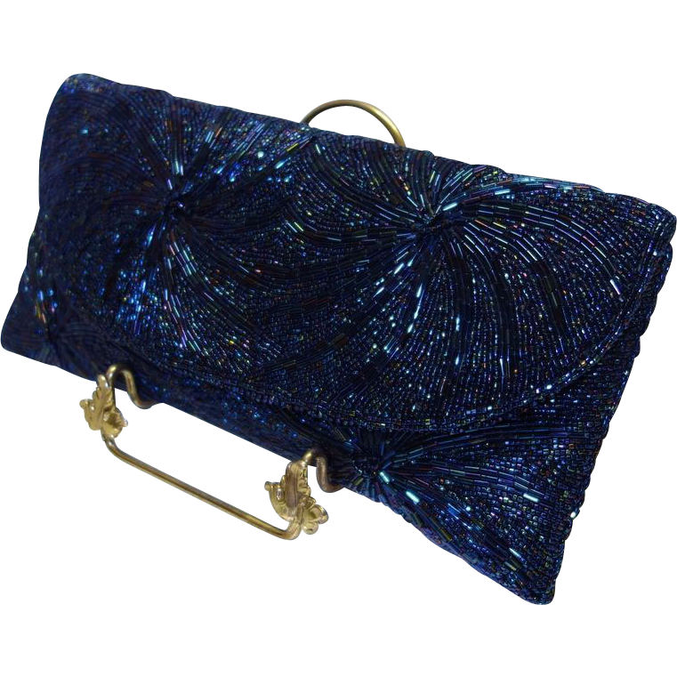 Vintage Iridescent Blue Glass Beaded Clutch Purse