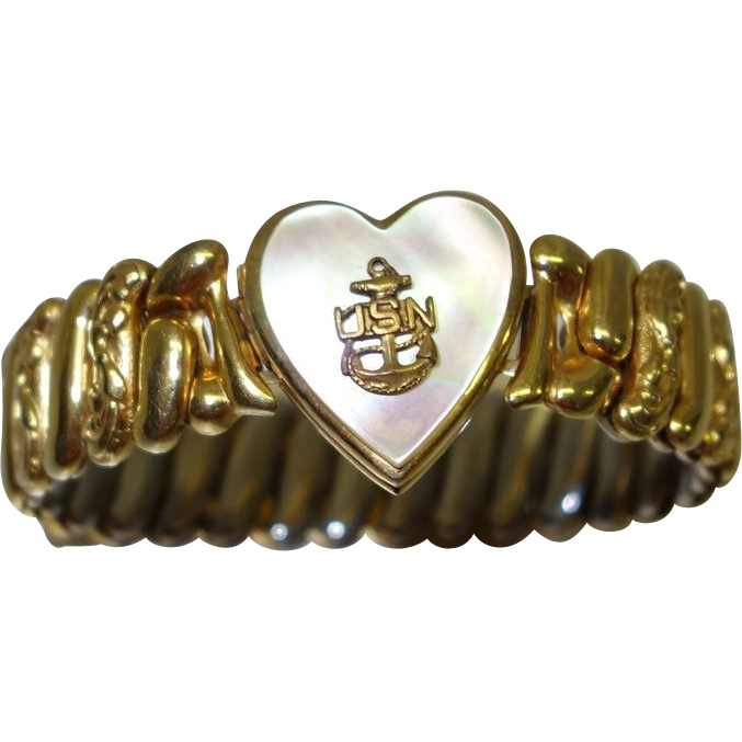 Vintage USN Sweetheart Locket Bracelet by Marvel Manufacturing Co.