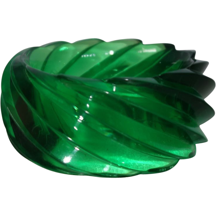 HUGE Transparent Green Spiral Lucite Bangle Bracelet Made in Western Germany