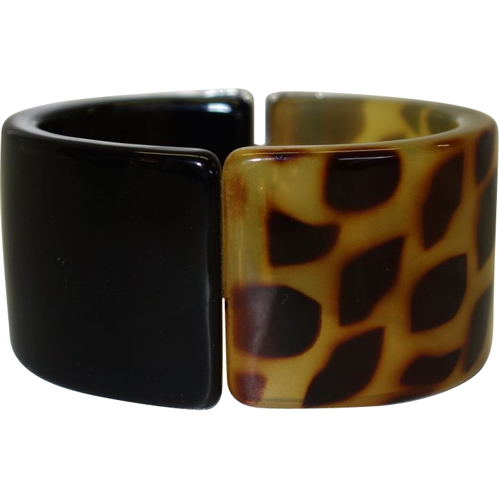 Vintage Black and Leopard Print Lucite Clamper or Hinge Bracelet