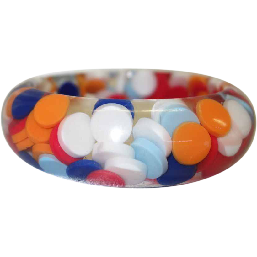 Vintage Lucite Bracelet with Embedded Multi-Colored Discs