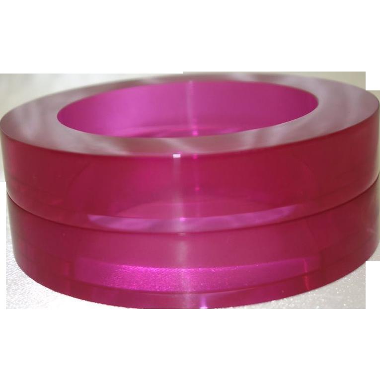 Vintage Estee Lauder Hot Pink Lucite Sliced Bangles