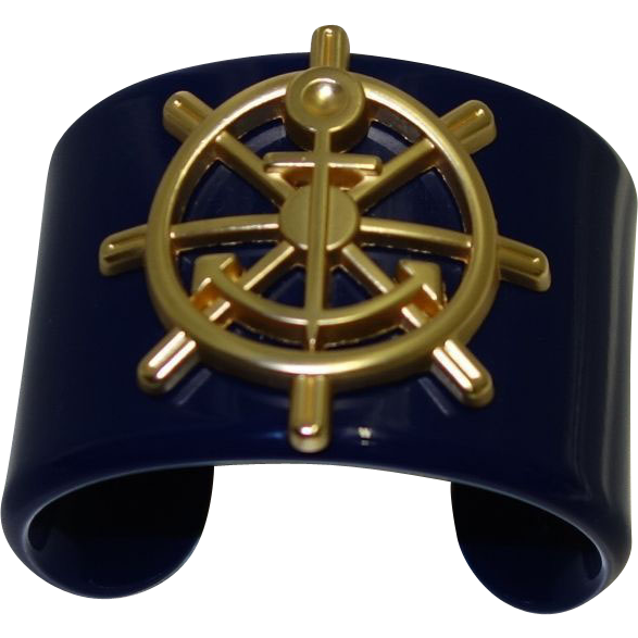 Vintage Wide Navy Blue Lucite Nautical Cuff