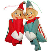 Pair of Vintage Knee-Hugger Elves in Striped Suits