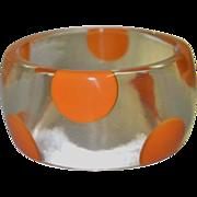 Vintage Clear Lucite Bracelet with Orange Polka Dots