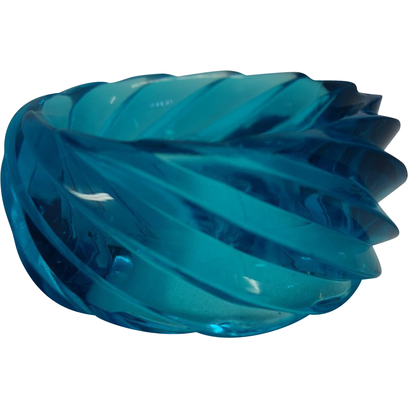 Vintage HUGE Spiral Transparent Teal Lucite Bangle Bracelet Made in Western Germany