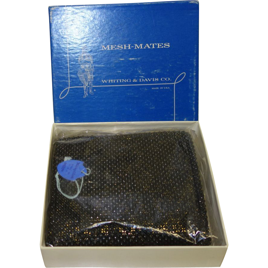 Vintage Whiting and Davis Mesh-Mates Beadite Wallet MINT in Original Box