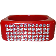 Vintage Lipstick Red Square Lucite Bracelet with Rhinestones
