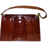 Gorgeous Cognac Alligator Skin Frame Handbag