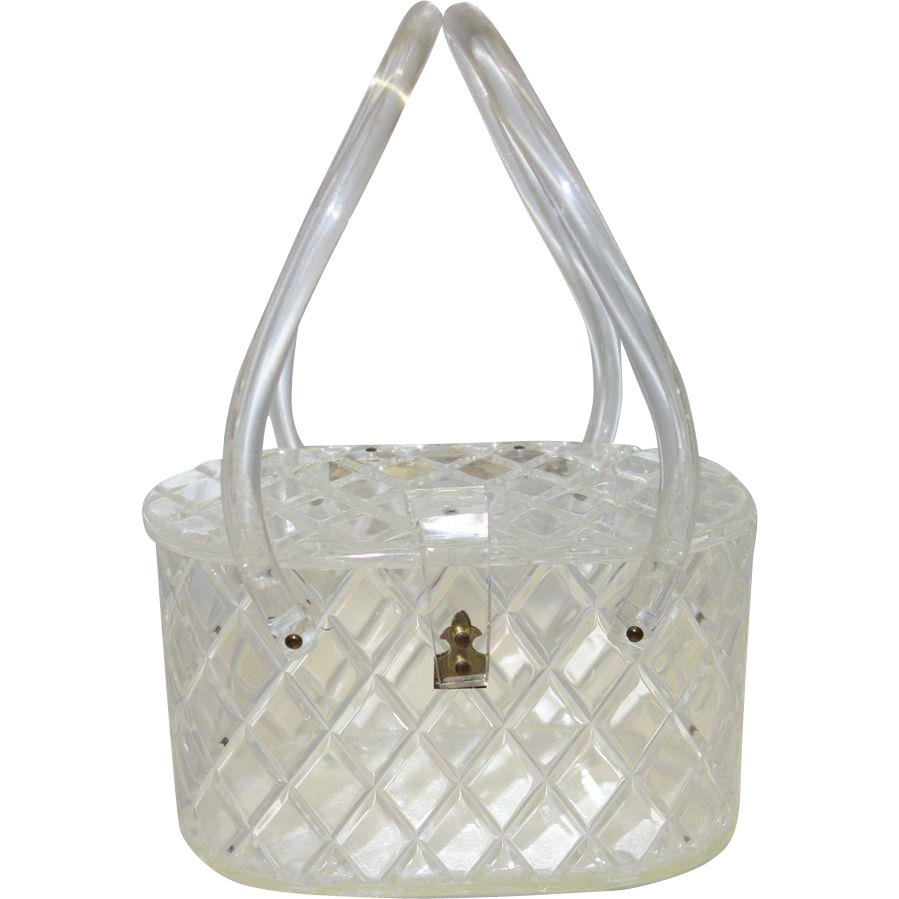 Vintage Diamond-Cut Clear Lucite Purse