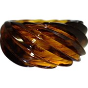 Vintage HUGE Spiral Transparent Faux Tortoiseshell Lucite Bracelet Made in Western Germany