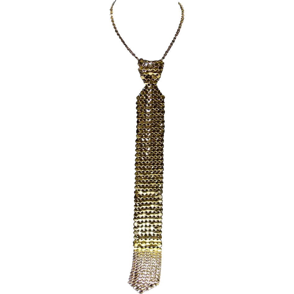 Vintage Whiting and Davis Gold Tone Metal Mesh Necktie Necklace
