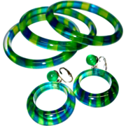Vintage Blue and Green Cased Transparent Striped Lucite Bangles and Earring Set