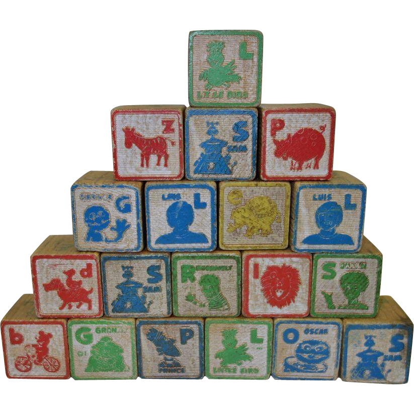 40 Vintage Assorted Wooden ABC Blocks