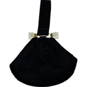 Elegant Vintage Black Velvet Pouch Bag with Lucite Trim