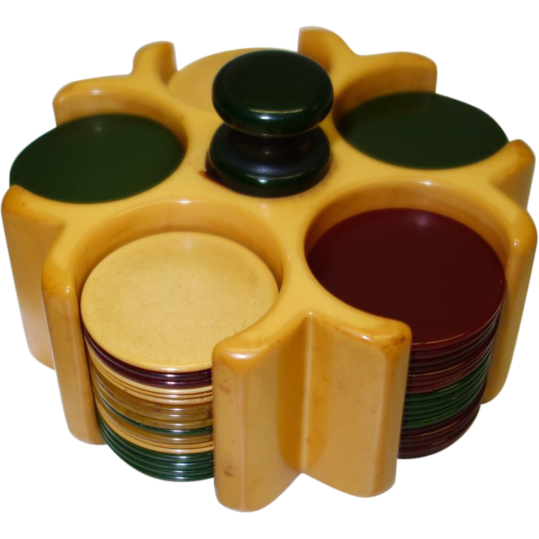 Vintage Mini Bakelite Poker Carousel and Chips