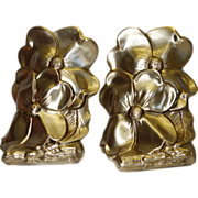 Vintage PM Craftsman Brass Dogwood Bookends