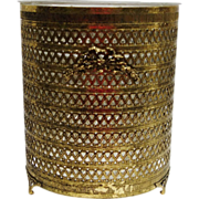 Vintage Gold Tone Metal Vanity Waste Basket with Lucite Liner