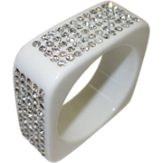 Vintage White Square Lucite with Rhinestones Bangle Bracelet