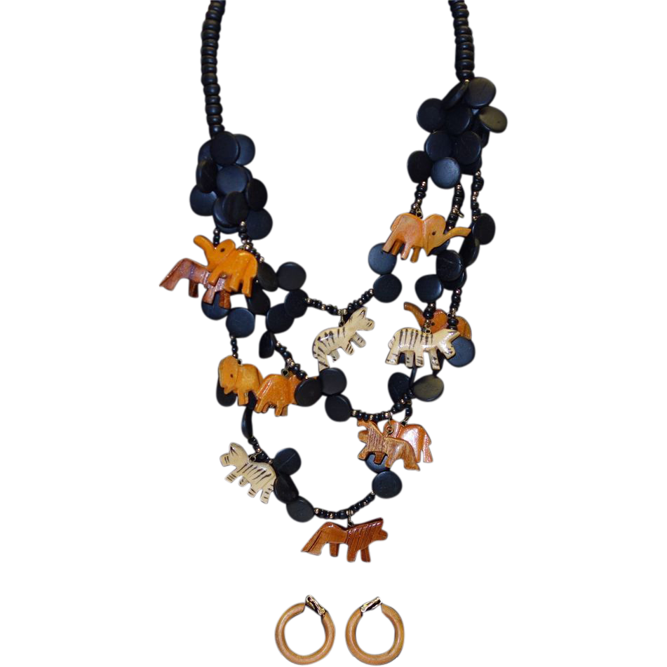 Vintage Triple Strand Wooden Animal Necklace