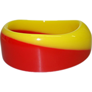 Vintage Bright Red and Yellow Asymmetrical Laminated Lucite Bangle Bracelet