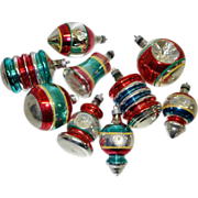 9 USA Striped Shapes Mercury Glass Christmas Ornaments