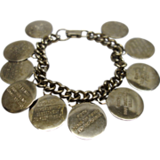 Vintage 1960's Ten Commandment Charm Bracelet