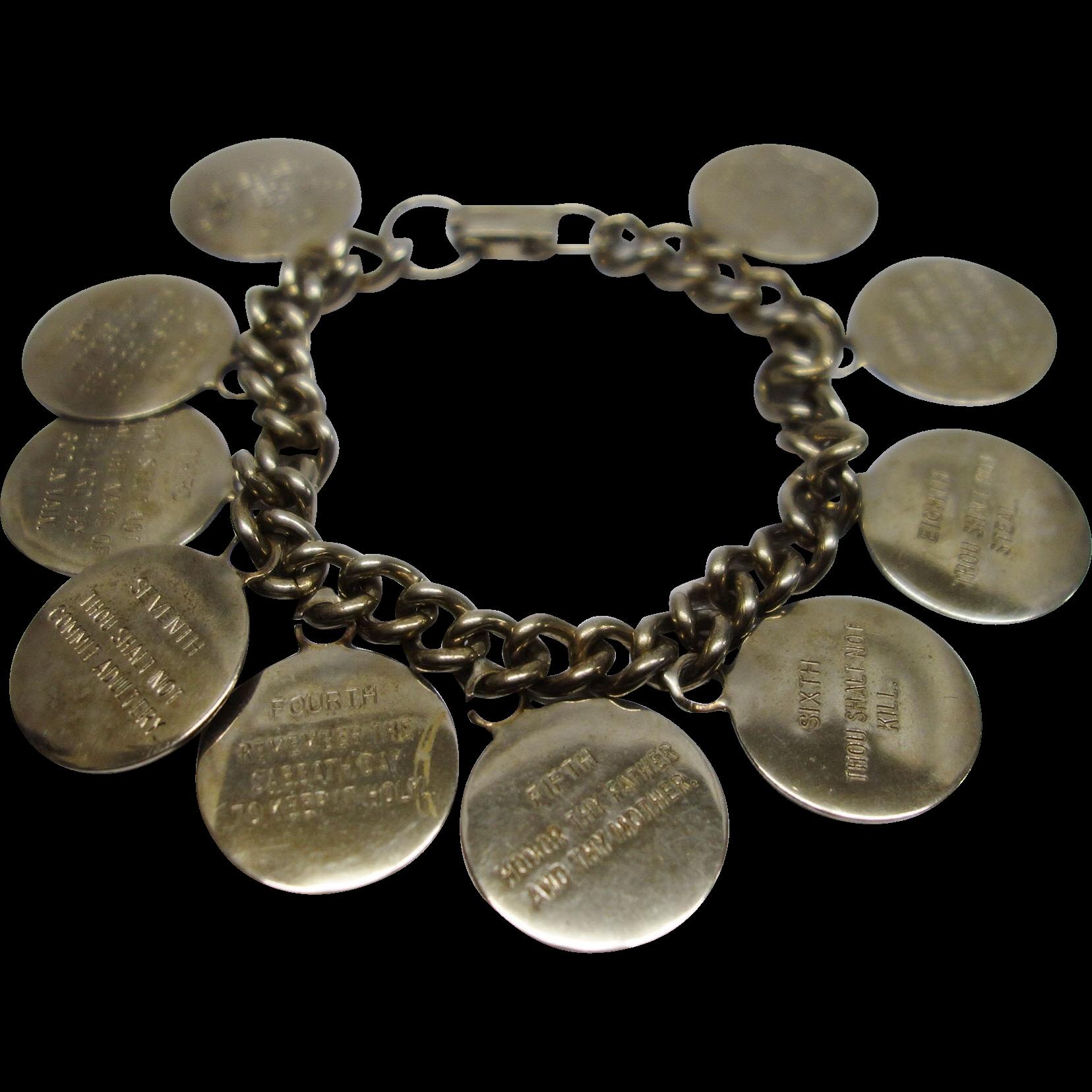Vintage 1960's Ten Commandment Charm Bracelet