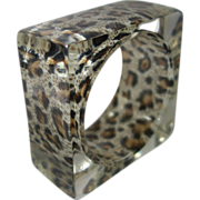 Vintage Clear Square Lucite Bracelet with Encased Animal Print