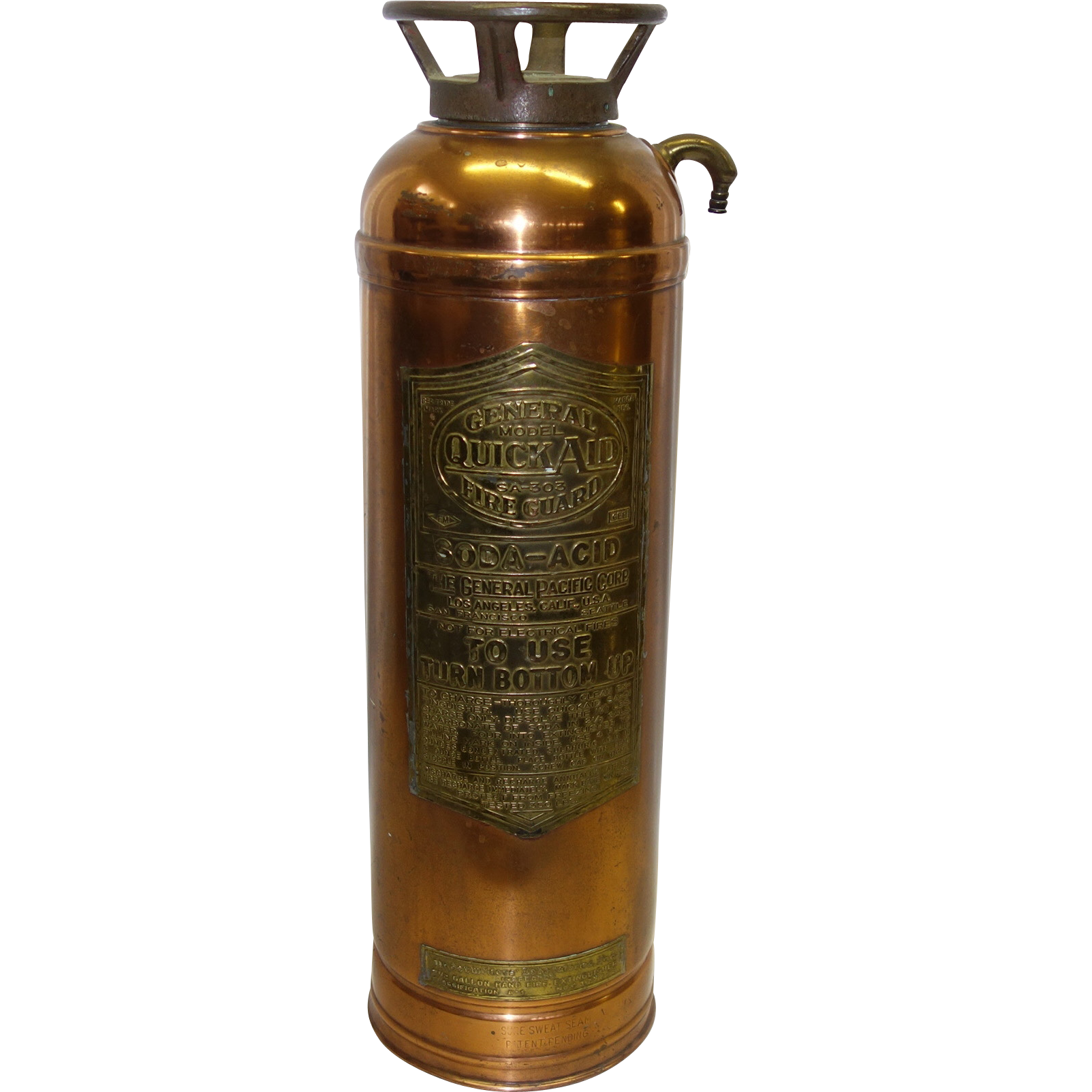 Vintage Copper and Brass General Quick Aid Fire Guard Fire Extinguisher Model SA-305
