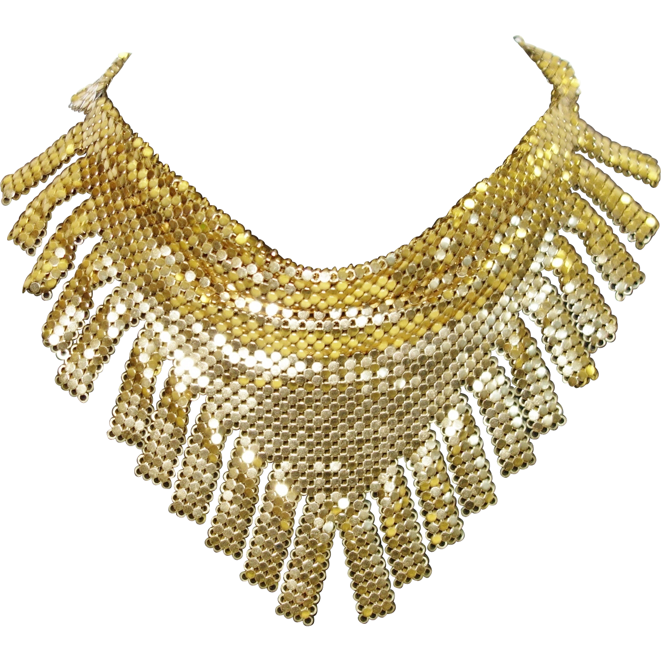 Vintage Whiting and Davis Gold Tone Metal Mesh Fringed Bib Necklace