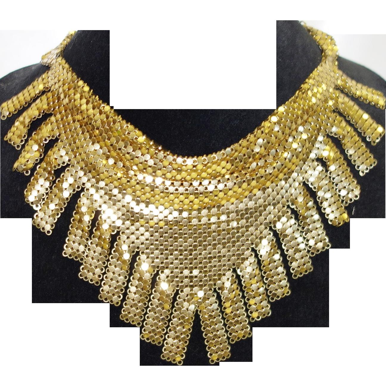 Vintage Whiting and Davis Gold Tone Metal Mesh Fringed Bib Necklace