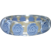 Vintage Clear Lucite Bracelet with Blue Embedded Roses
