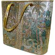 Large Delill 1960's Quilted Asian-Themed Bucket Purse with Attached Gold Lame` Evening Bag