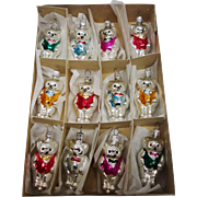 Vintage Box of 12 Glass Teddy Bear Christmas Ornaments Made in Czechoslovakia
