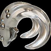 HUGE Runway Patricia Von Musulin Lucite and Sterling Silver Hoop Earrings