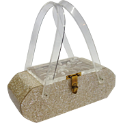 Vintage Gold Confetti Lucite Purse by Florida Handbags of Miami